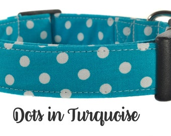 Turquoise and White Polka Dot Dog Collar - The Dots in Turquoise