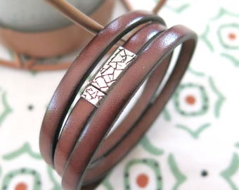 Brown Leather Wrap Bracelet with Pewter Clasp /Boho Leather Bracelet /Hazelnut/Triple Wrap Bracelet/Leather Cuff/Leather Wrap/Ready to Ship
