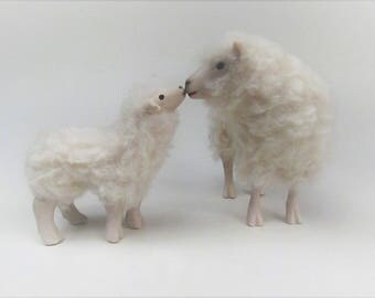 Doll House Scale Irish Galway Sheep Kissing Lamb