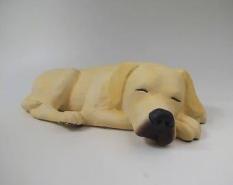 Yellow Labrador Retriever Cremain Urn in Stoneware
