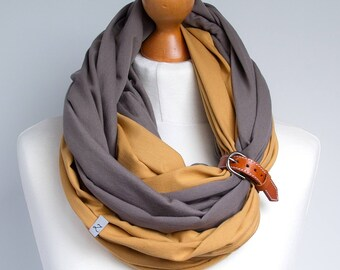 Scarf with leather cuff, infinity scarf, lightweight scarf made of two scarves, beige and honey scarf with cuff, cotton scarf, twocolored