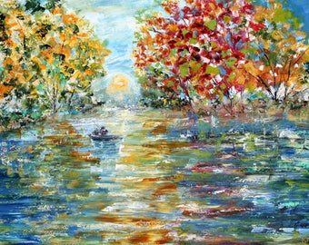 Fishing with Dad painting in oil palette knife impressionism on canvas fine art by Karen Tarlton
