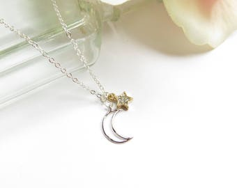 Moon and Star Necklace, Everyday Necklace In Mixed Silver And Gold, Simple Necklace