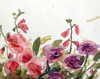 Roses and Penstemon Original Floral Watercolor Painting by Angela Moulton