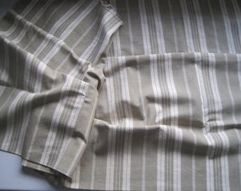 French vintage linen mattress ticking, khaki stripe, herringbone weave.  Great for projects, upholstery, curtains