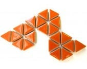 50 15mm Popsicle Tangerine Orange Glazed Ceramic Triangle Mosaic Tiles//Mosaic Pieces//Mosaic Supplies//Crafts