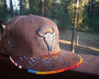 Custom beadwork on baseball hat by American Indian Artist