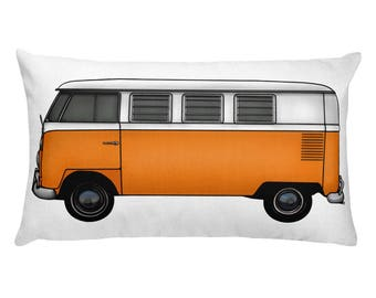VW Bus Pillow - Orange VW Camper Van Rectangular Pillow - Car Lover Gift Idea  - Personalized Pillow - Gift Idea for Dad - VW Accent Cushion
