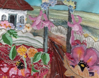 Up the Garden Path to the Summerhouse - Mixed Media Textile Picture - Vintage Fabrics - Hand and  Machine Stitching - Mounted, Framed