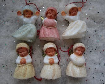 Vintage  Doll Angel Ornaments Miniature Celluloid Snow Girls Set of 6 in Original Box
