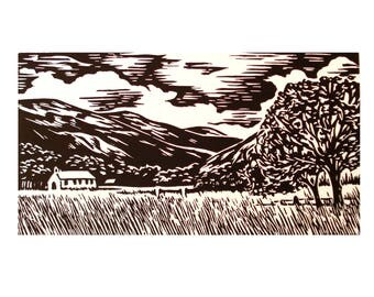 Welsh Landscape - Beddgelert Lino print