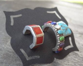 Vintage Sterling Studs - Sterling - Mis matched Earrings - Single - Post Earrings - Old Pawn Earrings - Turquoise - Coral - Hoop Earrings