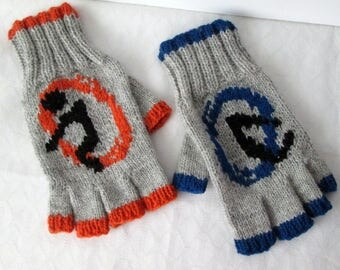 Grey, Orange, and Blue Fingerless Wool Mitts
