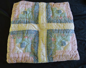 Vintage Hand Quilted Throw Pillow Case Cover Hand Made Hand Stitched