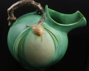 Roseville, Pine Cone, Green Ball Pitcher, No. 1321