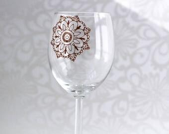 Mandala Wine Glass - Mandala Gift - Wine Gifts - Flower Glass - Boho Housewares - Bohemian Wine Glass - Stemless Glass