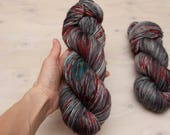 hand dyed yarn, Speckled yarn, worsted yarn, dyed yarn, red yarn, gray yarn, blue yarn, merino yarn, superwash yarn, superwash merino