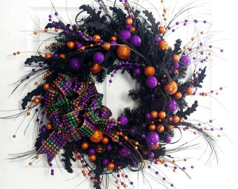 Polka Dot Halloween Wreath, Halloween Decor, Orange Wreath, Halloween Door Wreath, Front Door Wreath, Whimsical Wreath, Fun Halloween Wreath