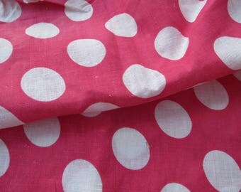 Vintage Pink White Polka Dot Circles Printed Fabric 2 yards