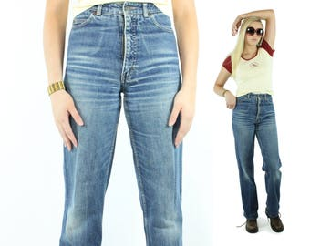 Vintage 80s Calvin Klein Jeans Boyfriend Slouch Well Worn High Waisted Baggy 1980s Small S Tall Blue Denim