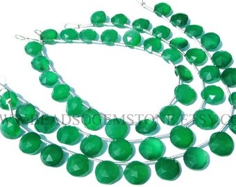 Gemstone Beads, Green Onyx Faceted Coin Semiprecious Stone Beads, (Quality AAA) / 8.5 to 9.5 mm / 18 cm / GR-102