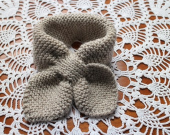 Child/Toddler Hand Knit Bow Scarf Keyhole Scarf Ascot Scarf Oatmeal -Ready to Ship