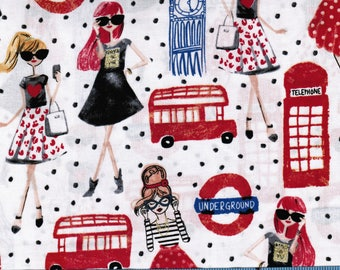 London Girl By Brother Sister Design Studio On White,100% Cotton Fabric By  The