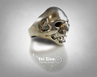 Ezi Zino Chupacabra Mexico Mexican Skull Black Diamonds 0.24 Ct Silver RING 925