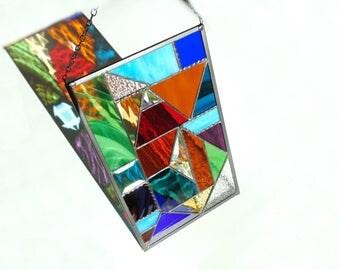 Stained glass panel, abstract suncatcher, geometric modern contemporary window art, glass suncatcher panel, colorful