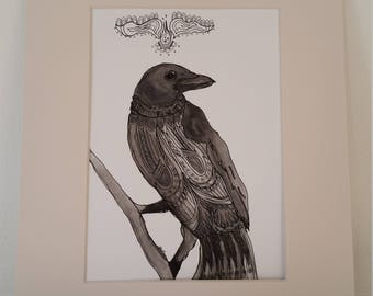 Original mixed media drawing of a crow