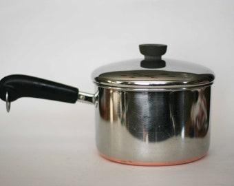 vintage revere ware 3 quart sauce pan copper clad bottom double ring mark