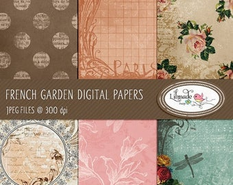 65%OFF SALE French garden digital papers, featuring vintage textured digital backgrounds for commercial use - Instant download, P20