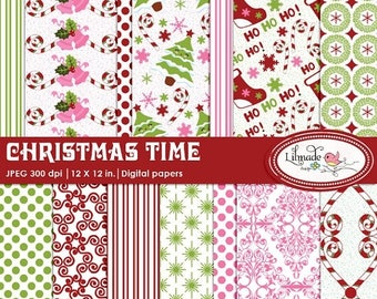 65%OFF SALE Christmas digital papers, Christmas scrapbook paper, Christmas patterned papers, winter digital papers, Holiday digital papers,