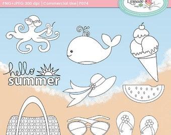 50%OFF Summer digital stamps, beach clipart, whale clipart, octopus clipart, watermelon clipart, flip flop clipart, P74