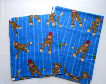 Blue Sock Monkey Cotton Fabric