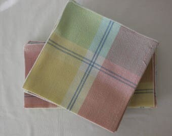Cloth Table Napkins in Ginham Pastels  and Stripes of Blue   Set of 12