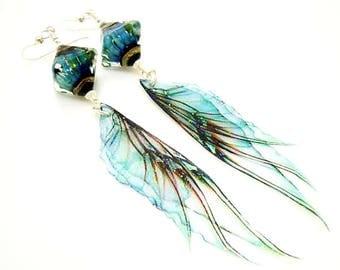 Blue Earrings, Fairy Wing Earrings, Fairy Wing Jewelry, Long Dangle Earrings, Lampwork Earrings, Glass Bead Earrings, Unique Earrings