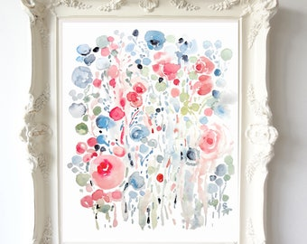 Soft Floral Abstract No.2, Watercolor Flowers Abstract Fine Art Print 8x10, 11x14, Soft Colors, Blue & Pink