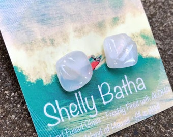 White Swell Sterling Silver Earrings Shelly Batha Island Fused Glass Hawai'i