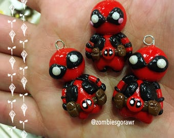 Kawaii DeadPool Inspired Red and Black Mercenary Polymer Clay Charm