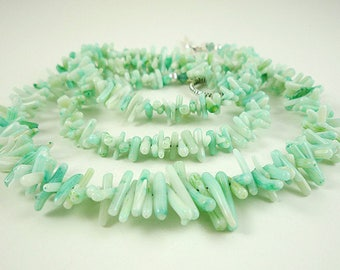 Pale Blue Coral Necklace Blue Mint Coral Necklace Long Aqua Coral Necklace Long Coral Strand Light Blue Coral Beach Necklace