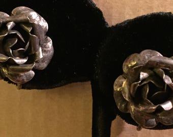 Vintage Mid Century 1960s Dimensional Tiered Sterling Silver Blooming Rose Flower Screw On Earrings