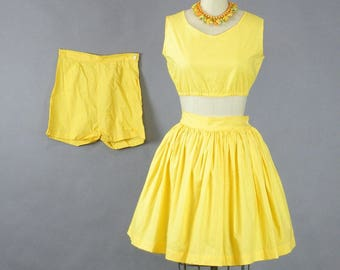 1950s 3pc Playsuit, 50s Shorts, Crop Top, Skirt Set, Yellow Cotton Playsuit
