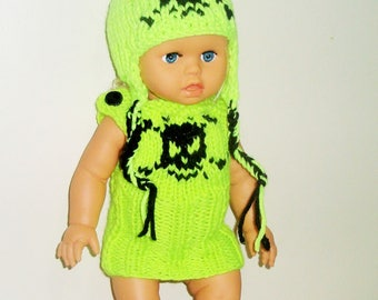 18 inch Doll Clothes, Skull Knit Hat with earflaps & dress, Neon Yellow, American Girl Doll Clothes Easter Gifts for Girls Birthday Gift