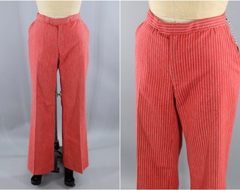Vintage 1970s Red Pinstripe Pants / 70s Preppy Nautical Pants / High Waisted Pants / Pin Stripes