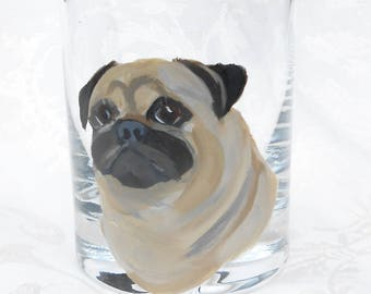 Fawn Pug Glass Hand Painted ~ Crystal Tumbler ~ Fawn Pug Collector ~ Pug Glass ~ Handpainted Dog Glass