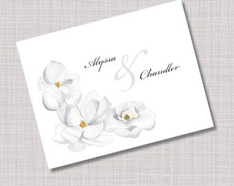Custom Magnolia Flower Wedding Thank You Note Cards
