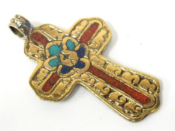 1 Pendant - Large Tibetan solid Brass cross pendant with lotus floral carving coral lapis turquoise inlay - PM565B