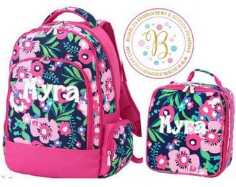 Monogrammed Posie Backpack and Lunch Box SET with Free Personalization