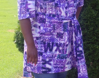 Purple, and blue print off the shoulder tunic top with sash.